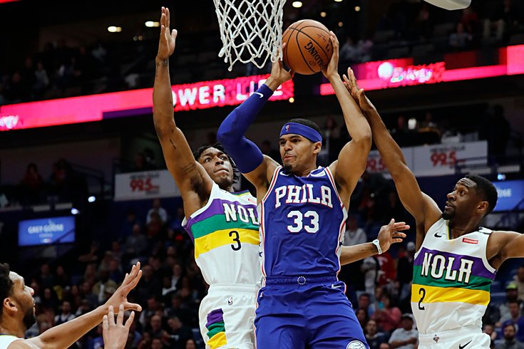 Sixers%27+Tobias+Harris+drives+to+the+hoop+against+New+Orleans%27+Stanley+Johnson+and+Ian+Clark+in+the+Sixers%27+111-110+win+on+Monday.
