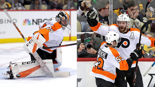 %28Left%29+Flyers%27+goalie+Carter+Hart+allowed+only+1+goal+on+42+shots%3B+%28Right%29+Sean+Couturier+celebrates+his+game-winning+overtime+goal++to+defeat+Pittsburgh.