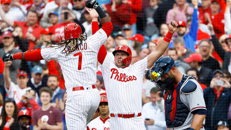 Phillies%27+Maikel+Franco+and+Rhys+Hoskins+celebrate+after+Franco%27s+3-run+homer+in+the+6th+inning+of+Thursday%27s+game+against+Atlanta.