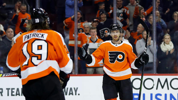 Flyers%27+Nolan+Patrick+and+Michael+Raffl+celebrate+Raffl%27s+2nd+period+goal+in+the+Flyers%27+3-2+win+on+Monday.