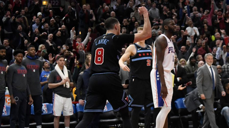 Bulls%27+Zach+Lavine+celebrates+his+game-winning+layup+to+beat+the+Sixers+108-107