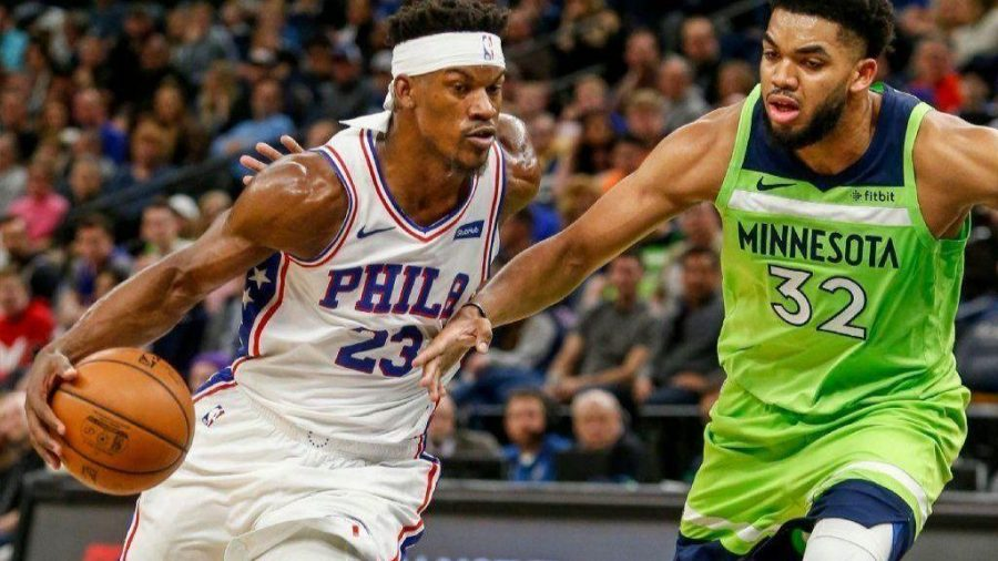 Sixers Jimmy Butler takes on Timberwolves' Karl-Anthony Towns as the Sixers defeated the Wolves 118-109 on Saturday.