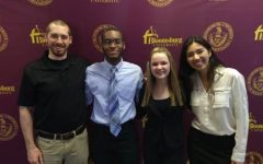 Future Millionaires Club Advisor Mr. Michael Costantino with Ryan Desmornes, Izzy Lodge, and Angelica Le, who participated in a Shark Tank-style competition.
