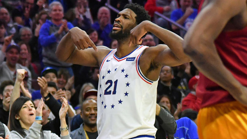 Sixers%27+Joel+Embiid+grabbed+a+33-point+double-double+in+the+Sixers%27+106-89+win+over+Indiana+on+Sunday.