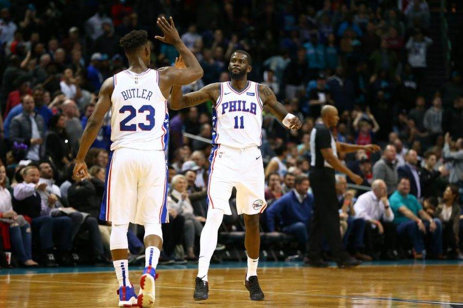 Sixers%27+Jimmy+Butler+and+James+Ennis+celebrate+the+Sixers+118-114+win+over+Charlotte+on+Tuesday.