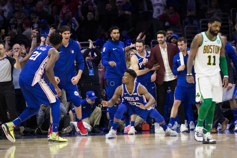 Sixers%27+Jimmy+Butler+drilled+a+shot+to+ice+the+game+against+the+Celtics%2C+as+the+Sixers+won+118-115+on+Wednesday.