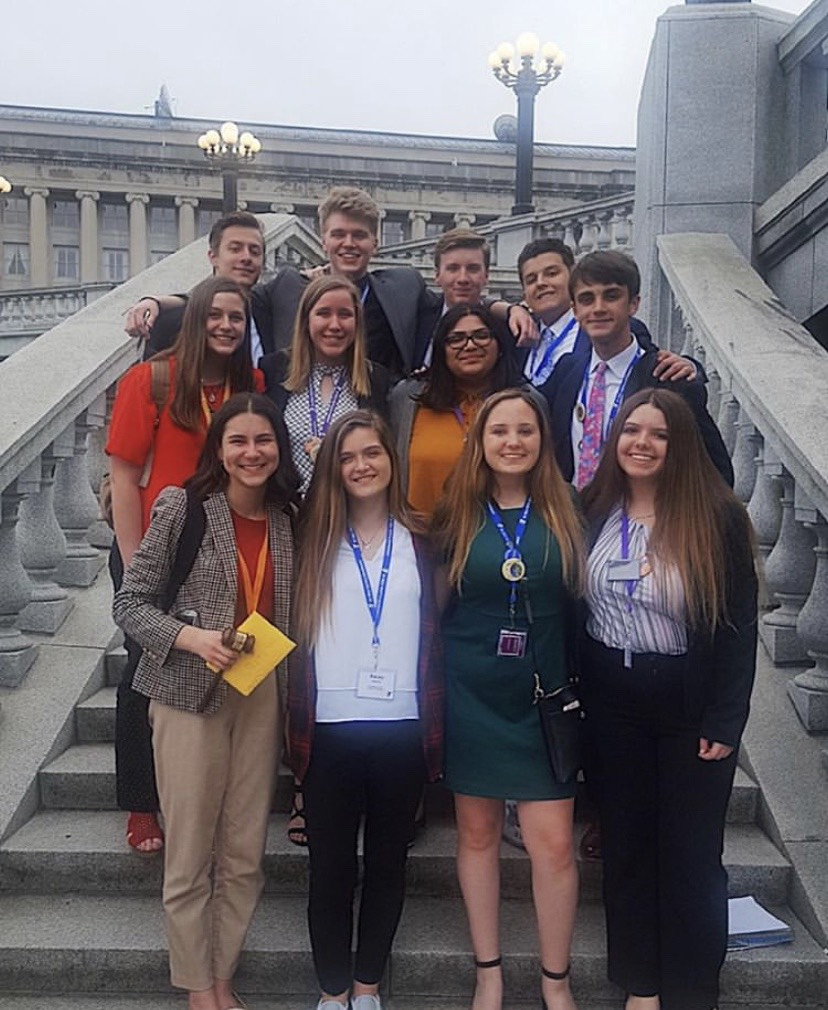 Youth and Government's Members of the Service Board on the steps of Pennsylvania's State Capitol after a day at their Model Convention