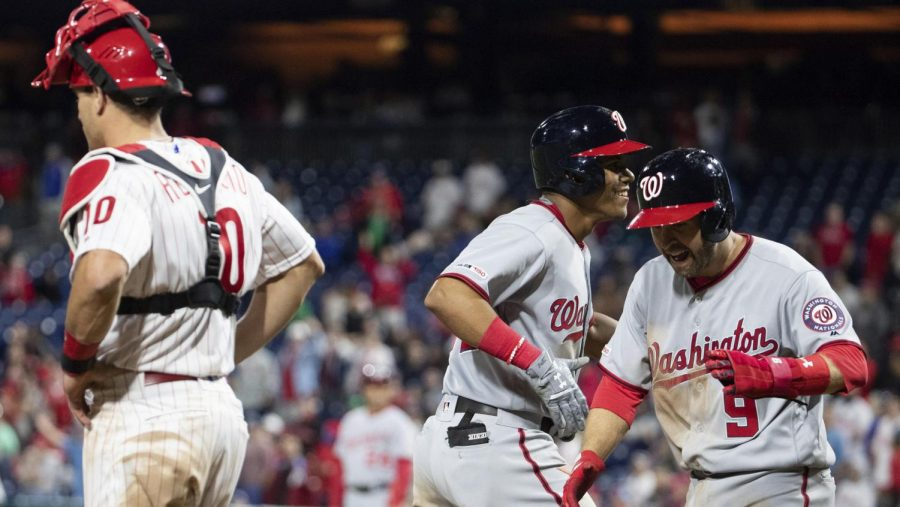 Nationals%27+Juan+Soto+and+Brian+Dozier+score+while+Phillies%27+JT+Realmuto+looks+on%2C+as+the+Nationals+crushed+the+Phillies+15-1+on+Wednesday.