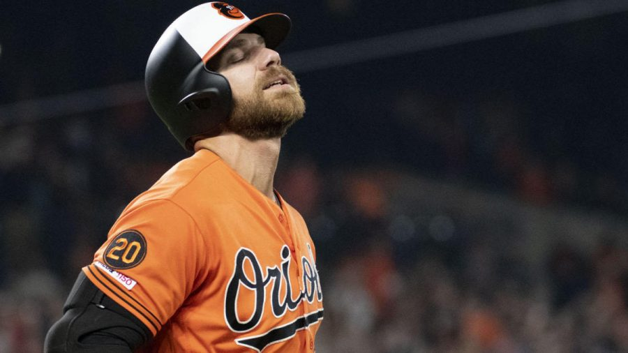Apr 6, 2019; Baltimore, MD, USA;  Baltimore Orioles first baseman Chris Davis (19) reacts after grounding out with the bases loading in the eighth inning against the New York Yankees at Oriole Park at Camden Yards. Mandatory Credit: Tommy Gilligan-USA TODAY Sports