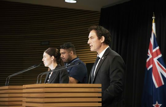 New Zealand Police Minister Stuart Nash, left, speaks during a press conference with Prime Minister Jacinda Ardern at the Parliament House in Wellington on March 21, 2019.