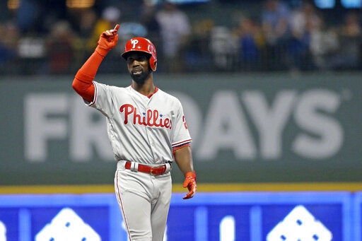 Phillies' Andrew McCutchen stayed hot in the leadoff role, with a leadoff home run in game 2 of the series as the Phillies won the series 2-1.
