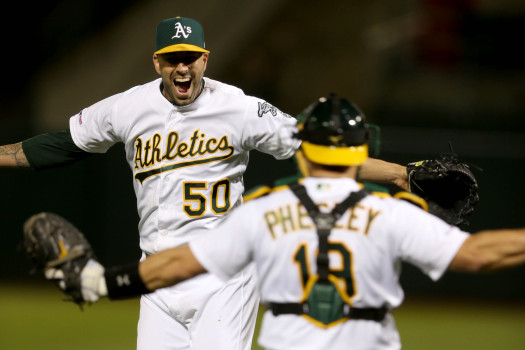 OAKLAND, CALIFORNIA - MAY 7: Oakland Athletics starting pitcher Mike Fiers (50) and catcher Josh Phegley (19) celebrate their no-hitter game against the Cincinnati Reds in the ninth inning of a MLB game at the Oakland-Alameda County Coliseum in Oakland, Calif., on Tuesday, May 7, 2019. The A's won 2-0.(Ray Chavez/Bay Area News Group)