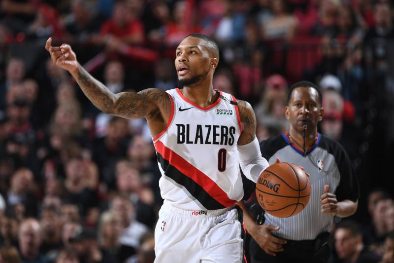 Portland+Trail+Blazers%27+Damian+Lillard+dropped+32+points+in+the+Blazers+119-108+win+over+Denver+in+game+6+of+the+Western+Conference+Finals.