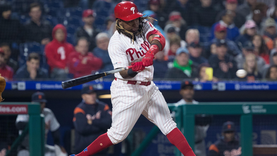 Phillies 3rd baseman Maikel Franco drives a 3-RBI, bases-loaded double to right-center field, propelling the Phillies to a 7-3 win over Detroit on Wednesday.