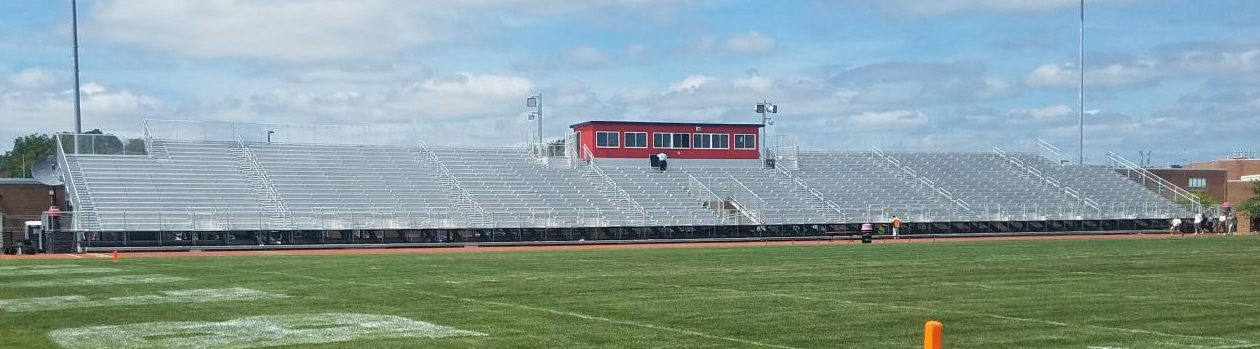 The new bleachers made out of aluminum, costing around $1 mil.