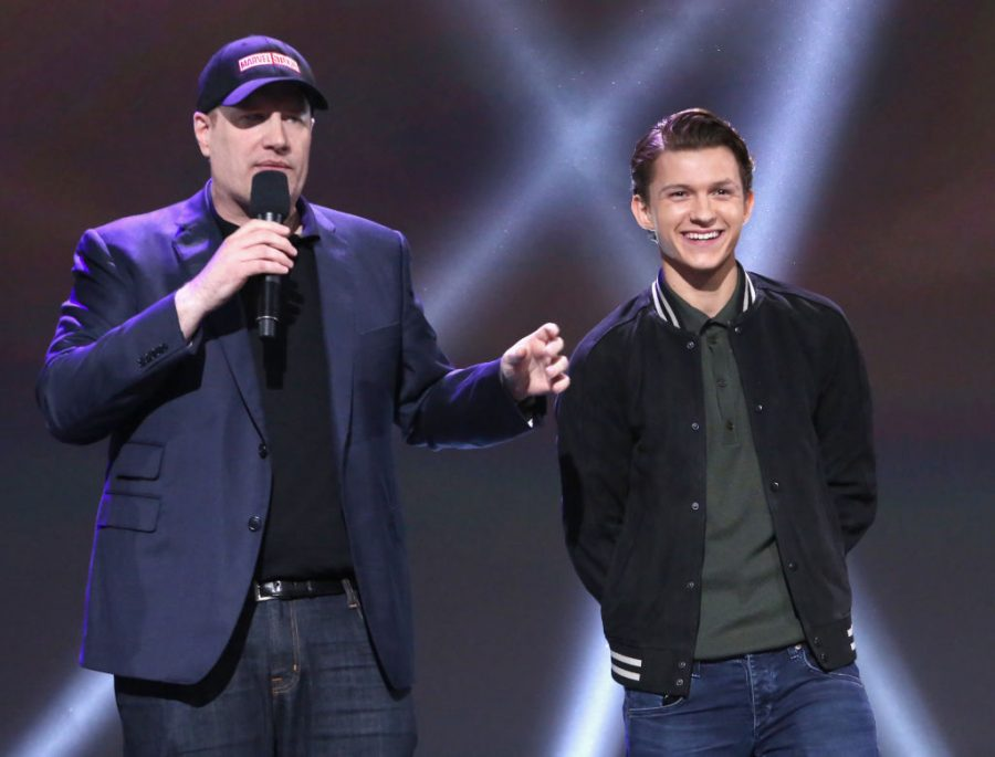 Kevin Feige, groundbreaking Marvel Studios producer, and Tom Holland., who plays the current Spider-Man, announcing the new deal.