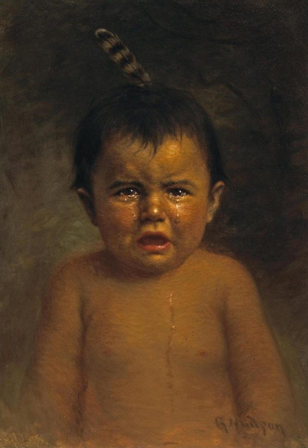 A+nineteenth+century+Native+American+child+cries+tears+which+reflect+four+hundred+years+of+colonial+abuse.+