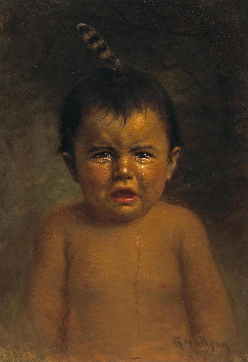 A nineteenth century Native American child cries tears which reflect four hundred years of colonial abuse.