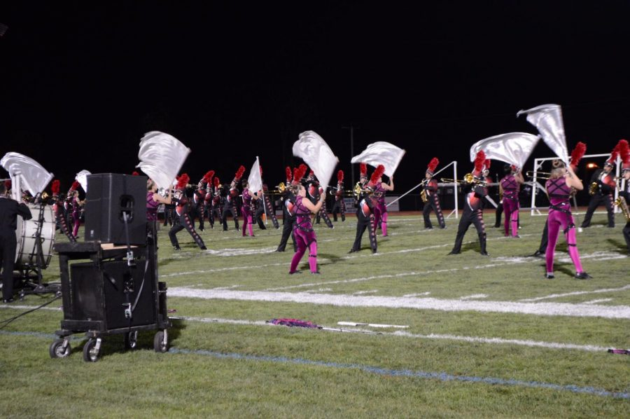 Boyertown+Marching+Unit+and+Color+Guard+perform+during+halftime.