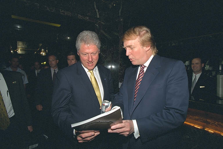 Bill Clinton and Donald Trump meeting in Trump Tower, Trump unaware he could someday suffer Clinton's fate. (June, 2000)