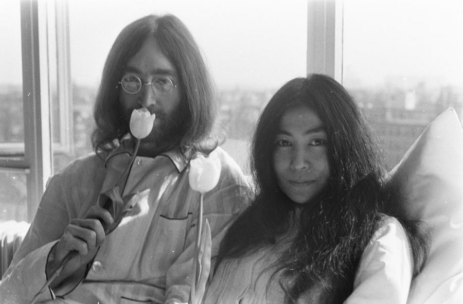 John Lennon, as he was on the 25th of March, 1969, with his second wife and major musical, moral influence Yoko Ono.