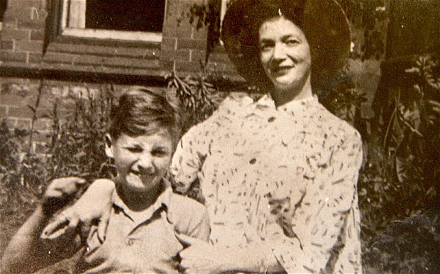 John Lennon at a young age with his mother, Julia Lennon.