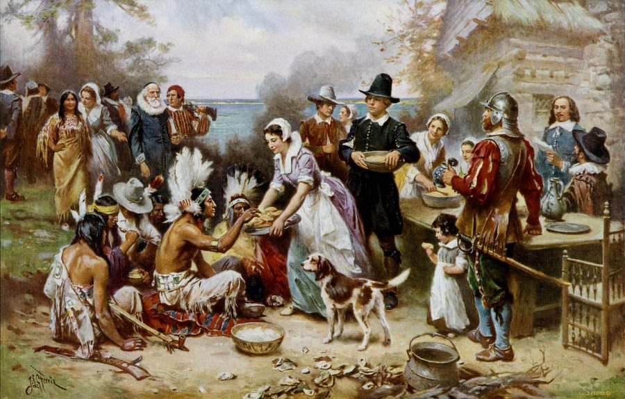 Squanto+can+be+thanked+for+the+first+Thanksgiving+dinner+--+a+Native+American+sharing+no+blood+with+the+Pilgrims.+