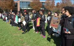 Bloomsburg students protest the hate which invaded their school campus.