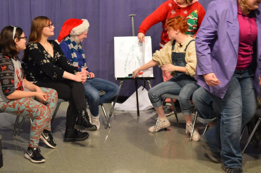 A game of Pictionary took place as one of the skits.