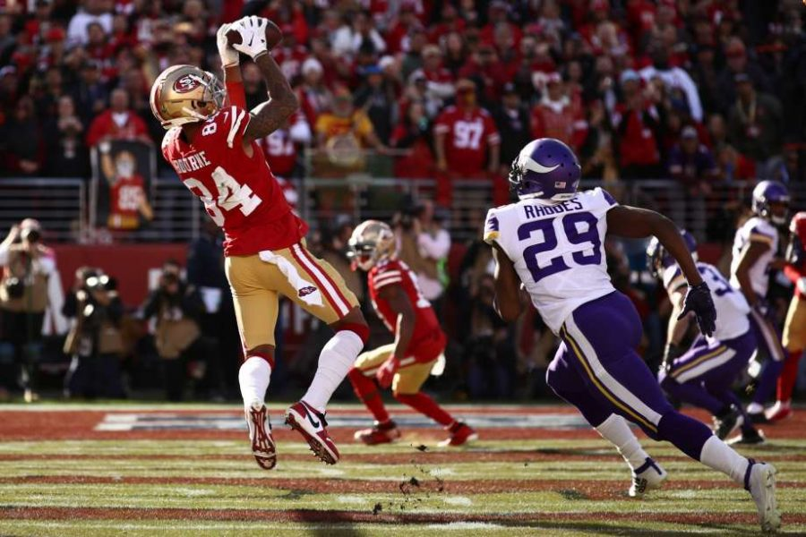 San Francisco 49ers' Kendrick Bourne receives a 3-yard pass from Jimmy Garoppolo to put the 49ers up 7-0 in the 1st quarter of Saturday's game against the Minnesota Vikings. San Francisco went on to win 27-10.