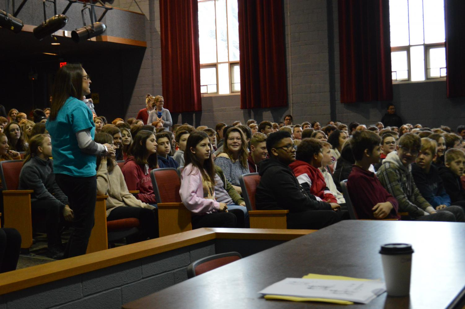 Eighth graders from the middle schools were welcomed to the high school with a presentation in the FAUD.