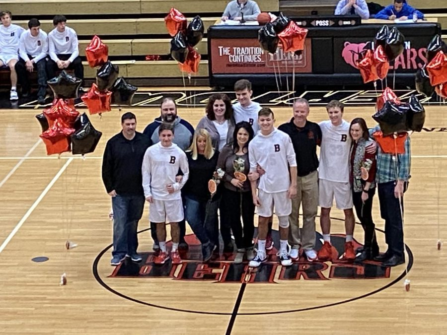 Seniors Ryan Barnes, Kameron Metcalf, Mason Marinello, and Alex Obarow were honored along with their families as part of Thursday's senior recognition. The Bears went on to beat Norristown 52-44.