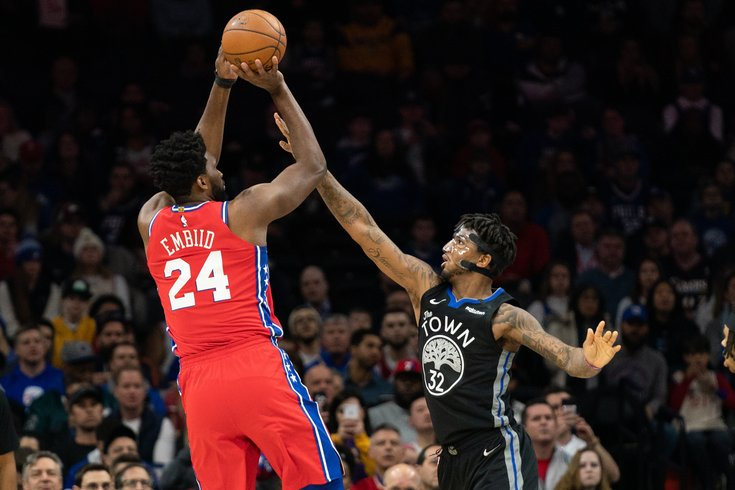 Sixers' Joel Embiid takes a fade-away jumper for his 24th point of the night as the Sixers took down the Warriors 115-104.