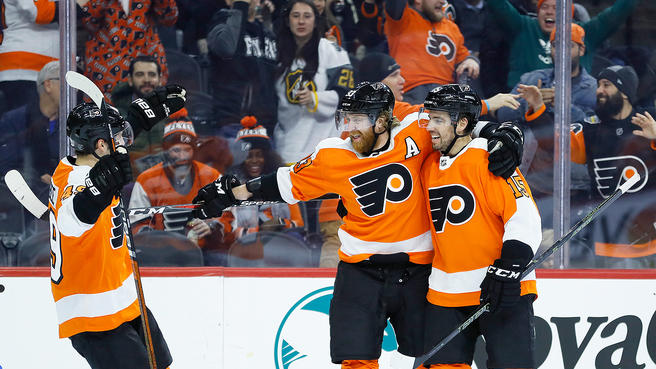 Flyers' Joel Farabee, Jakub Voracek, and Matt Niskanen celebrate Voracek's goal in the 2nd period of the Flyers' 3-0 win over the Penguins on Tuesday night.