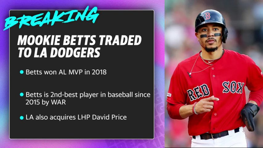 The Red Sox traded right fielder Mookie Betts to the Dodgers late Tuesday night (via Yahoo Sports)