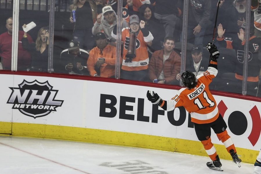 Flyers' Travis Konecny netted his 22nd goal of the season as the Flyers beat the Sharks 4-2 on Tuesday night (via Philadelphia Inquirer).