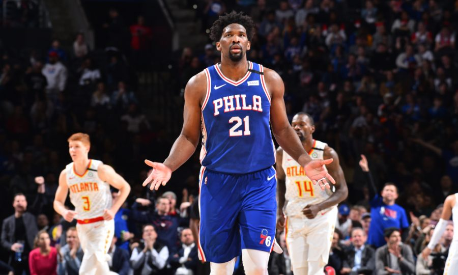 PHILADELPHIA, PA - FEBRUARY 24: Joel Embiid #21 of the Philadelphia 76ers reacts during a game against the Atlanta Hawks on February 24, 2020 at the Wells Fargo Center in Philadelphia, Pennsylvania NOTE TO USER: User expressly acknowledges and agrees that, by downloading and/or using this Photograph, user is consenting to the terms and conditions of the Getty Images License Agreement. Mandatory Copyright Notice: Copyright 2020 NBAE (Photo by Jesse D. Garrabrant/NBAE via Getty Images)