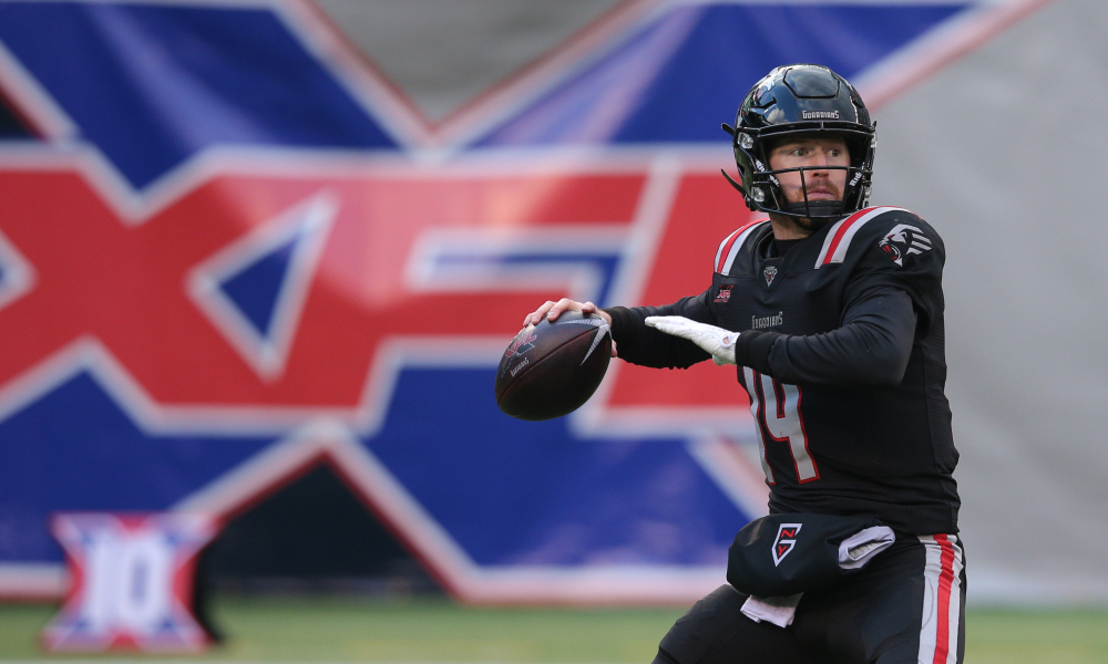 Feb 9, 2020; East Rutherford, NJ, USA; New York Guardians quarterback Matt McGloin (14) drops back to pass against the Tampa Bay Vipers during the third quarter of an XFL football game at MetLife Stadium.
