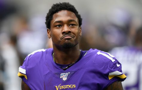 MINNEAPOLIS, MINNESOTA - OCTOBER 13: Stefon Diggs #14 of the Minnesota Vikings looks on from the bench after scoring a touchdown against the Philadelphia Eagles during the second quarter of the game at U.S. Bank Stadium on October 13, 2019 in Minneapolis, Minnesota. (Photo by Hannah Foslien/Getty Images)