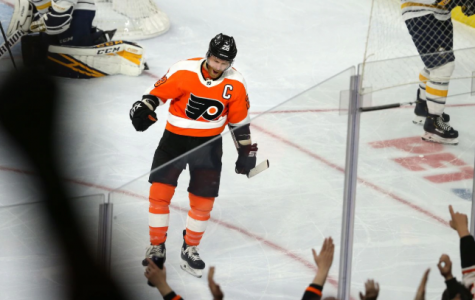 Claude Giroux of the Flyers celebrates after scoring against the Sabres during the 2nd period at the Wells Fargo Center on March 7, 2020. He had 2 of the Flyers' goals in the win (via The Philadelphia Inquirer).