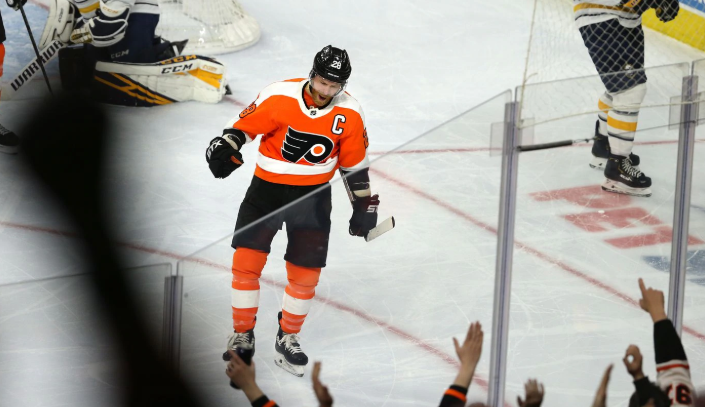 Claude+Giroux+of+the+Flyers+celebrates+after+scoring+against+the+Sabres+during+the+2nd+period+at+the+Wells+Fargo+Center+on+March+7%2C+2020.+He+had+2+of+the+Flyers%27+goals+in+the+win+%28via+The+Philadelphia+Inquirer%29.