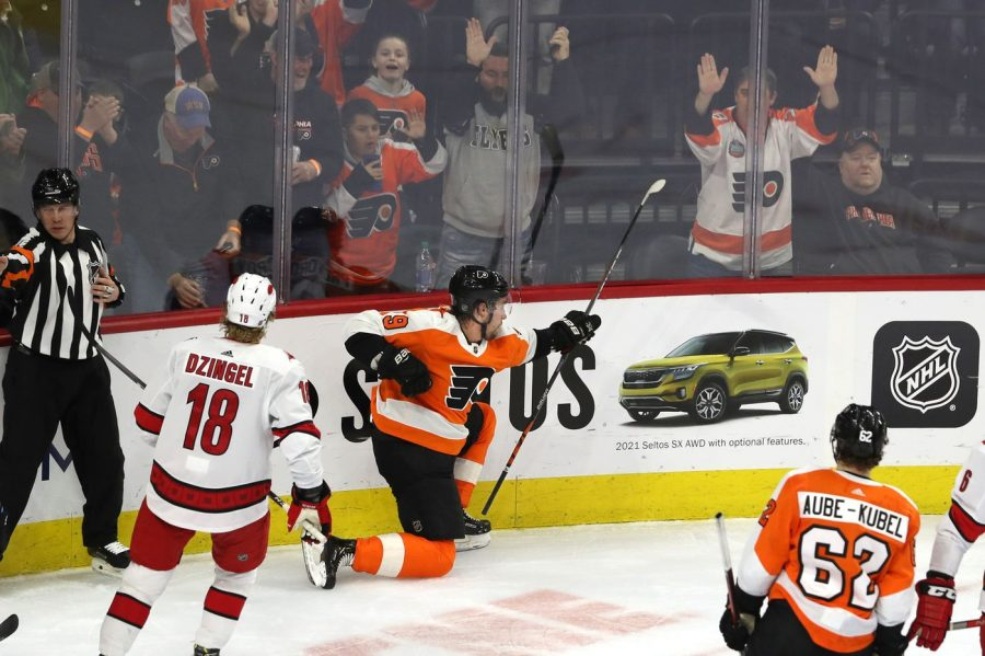 Flyers' Ivan Provorov celebrates his 13th goal of the season to give the Flyers a 1-0 lead against the Hurricanes on Thursday night. The Flyers would go on to win 4-1 (via The Philadelphia Inquirer).