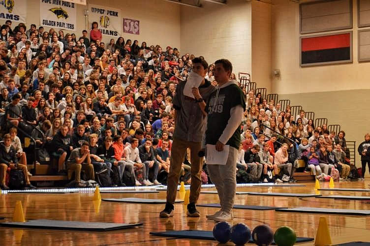 Along with speaking on TV and at FCA, PJ also led the homecoming and mini-thon pep rallies alongside Declan Coyle.