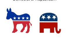 The Democrat and Republican parties are always against each other, hence their symbols facing away from each other.