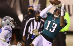 Eagles wide receiver Travis Fulgham, catches a touchdown pass in Eagles win over Cowboys on Sunday Night Football