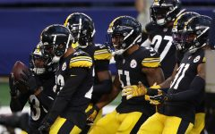 Pittsburgh Steelers players celebrate touchdown score against the Dallas Cowboys