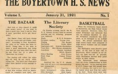 Front page of Volume 1, Issue 1 discusses the events of the Literary Club including scripture reading and recitations. The Bazaar is also highlighted by encouraging young men to bring their best girl along after the movies to treat her to a plate of