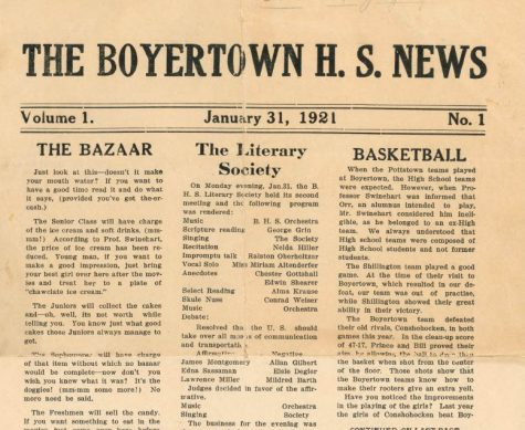 "Front page of Volume 1, Issue 1 discusses the events of the Literary Club including scripture reading and recitations. The Bazaar is also highlighted by encouraging young men to bring their best girl along after the movies to treat her to a plate of ""chawclate ice cream."""