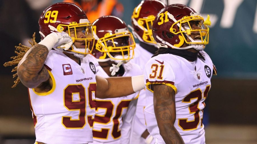 Washington Football Team defense celebrates after turnover in victory over the Philadelphia Eagles on Sunday Night Football