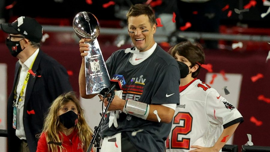 Tampa Bay Buccaneers quarterback Tom Brady hosts his seventh Lombardi Trophy, beating the Kansas City Chiefs in Super Bowl 55 31-9 in Tampa, Florida.